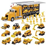JOYIN 14 in 1 Die-cast Construction Truck Vehicle Toy Set, Play Vehicles Set with Sounds and Lights in Carrier Truck, Push and Go Vehicle Car Toy, Kids Birthday Gifts for Over 3 Years Old Boys