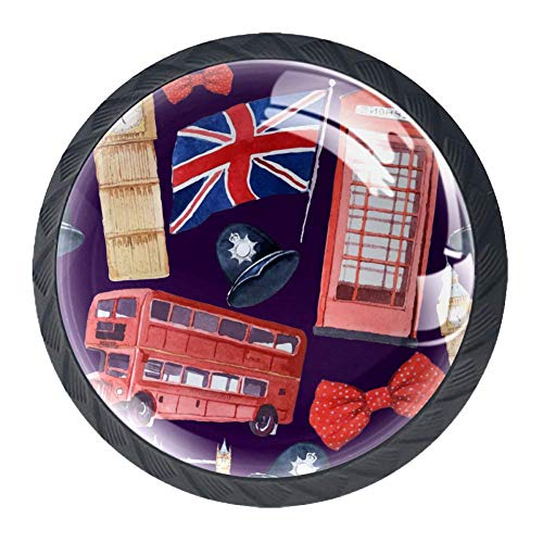 Watercolor London Red Phone Booth Big Ben Clock Cabinet Dresser Knobs 4 Pcs Drawer Door Pull Handles for Kitchen Bathroom Unique Drawer Knobs