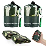EEEKit 2Pack Emergency Sleeping Bag, Waterproof Lightweight Survival Bivy Sack, Thermal Emergency Shelter Compact Survival Blanket Bags with Survival Whistle for Outdoor Hiking Camping, Camouflage