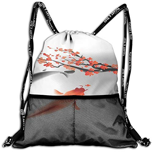 AZXGGV Drawstring Backpack Rucksack Shoulder Bags Gym Bag Sport Bag,Koi Carp Fish Couple Swimming with Cherry Blossom Sakura Branch Culture Design Picture