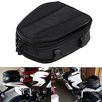 Motorcycle Tail Bag Seat Bag Waterproof Luggage Bag Motorbike Saddle Bags Multifunctional PU Leather Bike Bag Sport Backpack 15 Liters by JZY