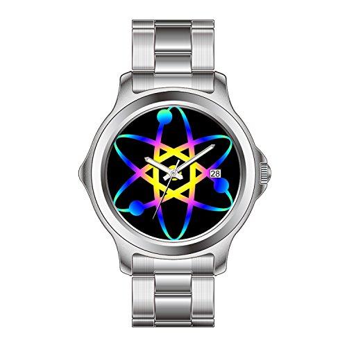 FDC Weihnachten Geschenk Uhren Damen Fashion Japanisches Quarz-Datum Edelstahl Armband Armbanduhr Atom