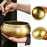 Cuenco Tibetano Hecho a Mano en Nepal, 1050G, 15,5 cm 7 Metales, cojín de Cuero y Seda de Palo de Rosa de Badajo, Herramienta práctica para meditaciones budistas