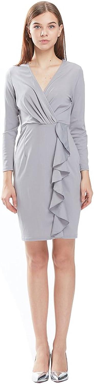 R.Rgrenen Sexy Dress for Women Long Sleeve V Neck Irregular Elegant Short Dresses Casual Party Girl Mini Skirt