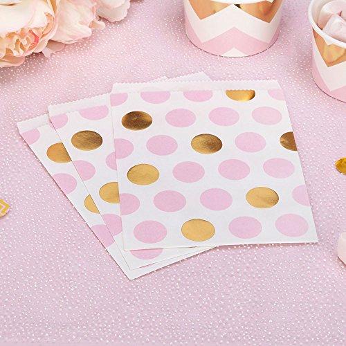 Papiertütchen Punkte rosa gold 16,5 x 13 cm 25 Stück - Geschenktütchen Hochzeit Candy Bags Kindergeburtstag Mitgebsel Kinderparty Paper Bags Candy Bar Bonbontütchen Süßigkeiten-Tütchen Dots rosa gold