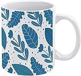 Tazza da caffè blu tropicale foglie di palma vacanza tazza di caffè