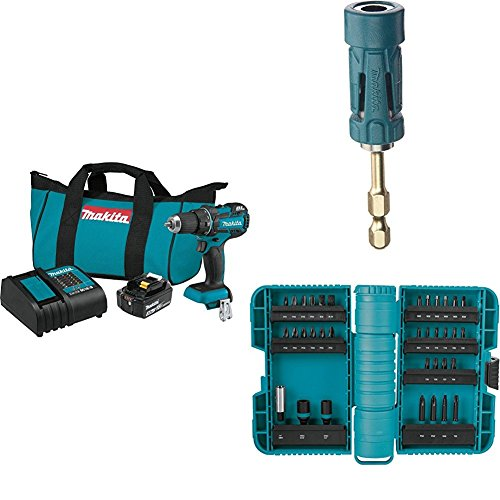 """Makita XFD061 18V LXT Lithium-Ion Compact Brushless Cordless 1/2"""" Driver Drill Kit (3.0Ah) with B-35097 Impact GOLD Ultra-Magnetic Torsion Insert Bit Holder with A-98326 ImpactX 35 Pc. Driver Bit Set"""