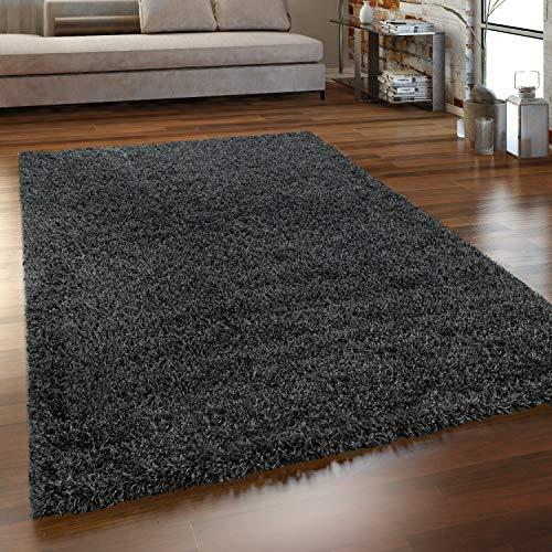 Paco Home Hochflor Teppich Wohnzimmer Shaggy Langflor Modern Einfarbig Ohne Muster, Grösse:70x140 cm, Farbe:Anthrazit