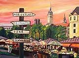 München Bayern Viktualienmarkt mit Wegweiser - Original Gemälde - Acryl auf Leinwand 80x60x4 cm