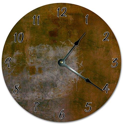 Reloj de pared redondo de 30,5 cm, funciona con pilas, con números arábigos, reloj de diseño de metal antiguo, decoración del hogar