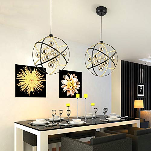 Kroonluchter ronde kroonluchter Moderne woonkamer slaapkamer nachtkastje restaurant bar metaal zwart zilver LED plafondlamp 50x50cm hangend licht