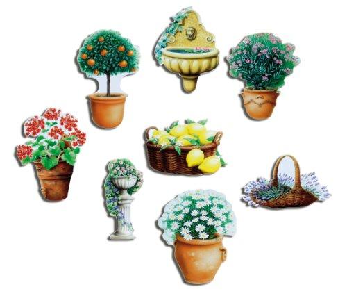 Koelkastmagneten bloemen magneten voor magneetbord keuken sterk set van 8 tuin natuur planten met motief bloempot Mediterrane