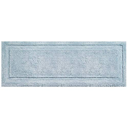 "mDesign Soft Microfiber Polyester Non-Slip Extra-Long Spa Mat/Runner, Plush Water Absorbent Accent Rug for Bathroom Vanity, Bathtub/Shower, Machine Washable - 60"" x 21"" - Water Blue"