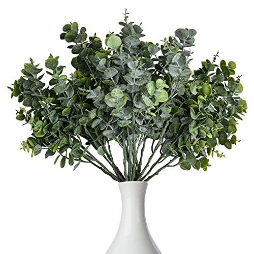Kalolary 4 piezas Hojas Eucalipto Artificiales, 7 ramas Tallos Vegetación Sintética, Ramas Hojas Eucalipto, Plantas Hojas Dólar Plateado Decoración Bodas, Fiestas en El Hogar(15 Pulgadas, Gris Verde)