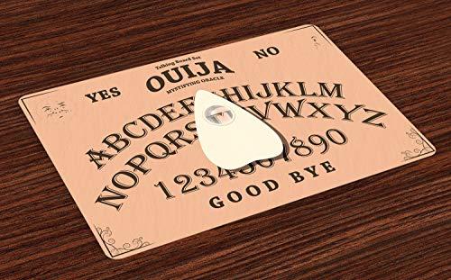 ABAKUHAUS Ouija-Brett Platzmatten, Ouija mit Lupe auf Scribbled Buchstaben Hintergrund Spielen, Tiscjdeco aus Farbfesten Stoff für das Esszimmer und Küch, Braun Pfirsich und Elfenbein