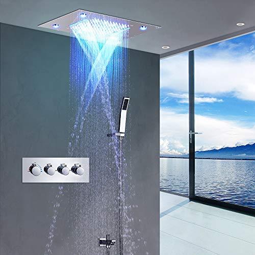W.Z.H.H.H Duschset Konstante Temperatur Multifunktions-Top Spray Sky Screen Wasserfallmassage Regendusche Set LED-Licht Dusche Wasserhahn Wasserversorgung