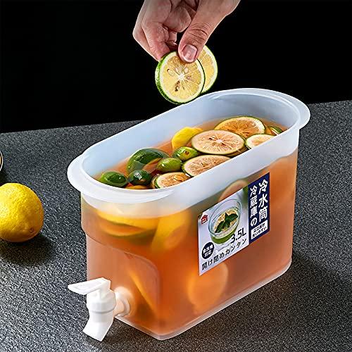 Dispensador de agua delgado de 3,5 l con grifo, recipiente de agua con grifo, tarro de bebida con espita, dispensador de bebidas de gran jarra de agua, estante recargable para bebidas