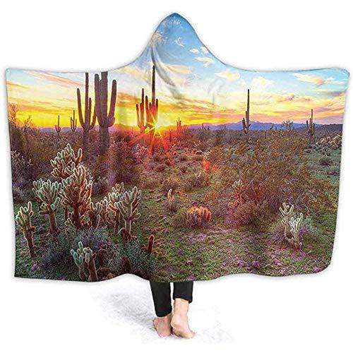 Henry Anthony 40X50 Pulgadas con Capucha Throw Wrap Puesta de Sol Entre los saguaros en Oran ERT Escena Imagen Ultra Suave Felpa Forrada Ropa de Ocio, Wele Warm