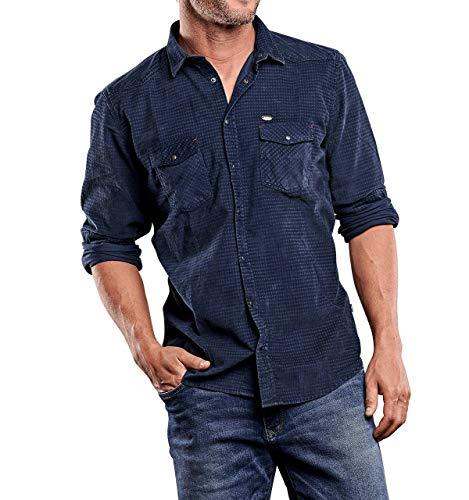 engbers Herren Cord-Hemd, 28178, Blau in Größe L