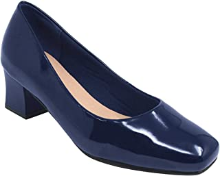 Ladies Womens Square Heel Patent Court Shoe