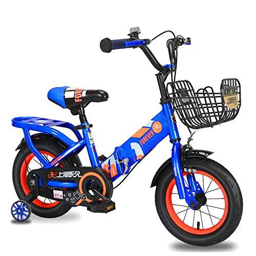 FUFU Bicicletas Niños, Ruedas De Entrenamiento Extraíble, Frenos, 12/14/16/18 Pulgadas, Llantas, 2 Colores (Color : Blue, Size : 14in)