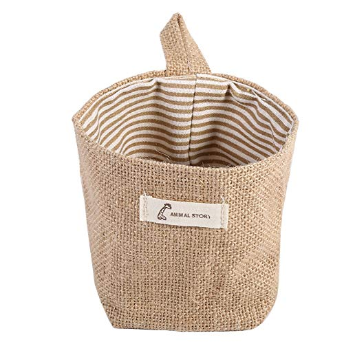 Mini Hanging Storage Bag Linen Cotton with HandlesDecorative Basket for Living Roomfor Nursery Sofa Throws Pillows or ToysMulti-Functional Saver Bag2