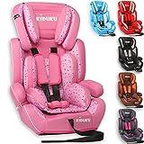 KIDUKU Seggiolino auto, cresce con il bambino, sedile, universale, approvato con la normativa ECE R44 / 04, 9-36 kg (1-12 anni), gruppo 1+2+3 (Rosa)