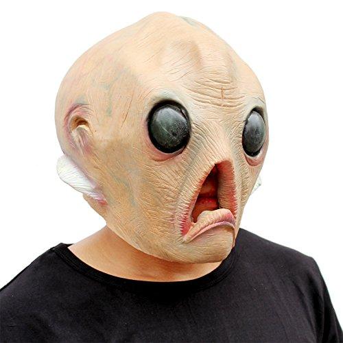 CreepyParty Deluxe Novelty Halloween Costume Party Latex Head Mask Alien