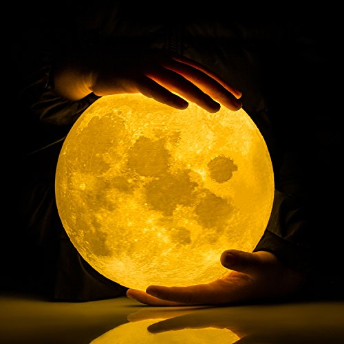 Extra Large!!! GPJOY 3D Moon Lamp Rechargeable Lunar Night Light Dimmable Touch Control Brightness...