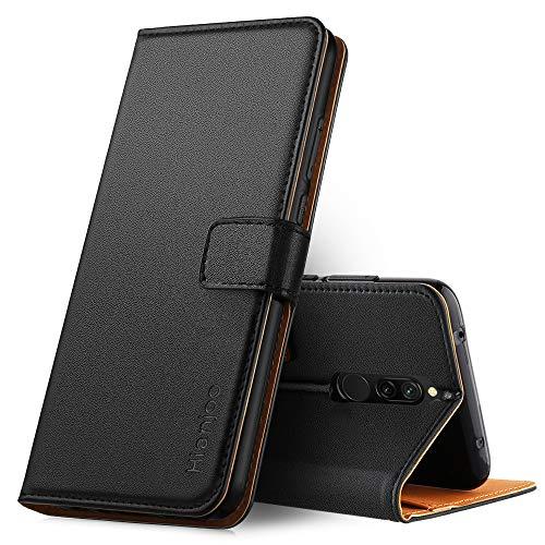 Hianjoo Funda Compatible con Xiaomi Redmi 8, Suave PU Cuero Carcasa con Flip Case Cover, Cierre Magnético, Función de Soporte, Billetera con Tapa Tarjetas Compatible con Redmi 8, Negro