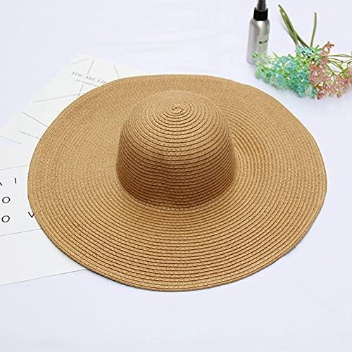 Sombrero De Playa De Gran Tamaño Paja Rafia Tejido Sombreros para El Sol Mujeres Verano Floppy Grande Panamá Bolsillos Plegables Gorras Elegantes Sombreros Sombreros De Color Caqui