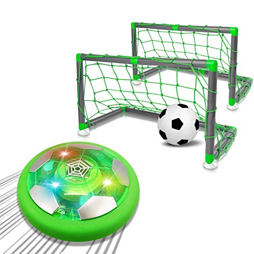 Super Joy Hover Soccer Ball with 2 Goals Play Set Toys Game for Kids, Indoor Outdoor Rechargeable Air Soccer Ball with LED and Foam Bumper Birthday Gifts for Toddlers Boys and Girls Age 3 4 5 6 7 8