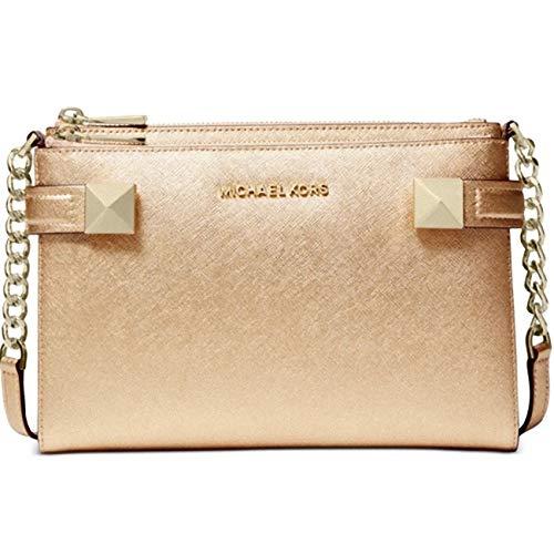 "9.25"" W x 6.5"" H x 1.25""D 24""L crossbody strap. Gold-tone exterior hardware, 1 slip pocket & 1 zip pocket 1 interior slip pocket & 8 credit card slots Leather"