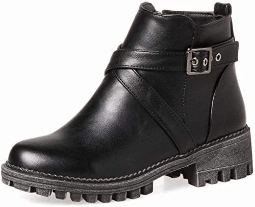ZHRUI Stiefel para damen - Lateral con Cremallera Stiefel de tacón bajo para damen Stiefel Cortas de Invierno Calzado para damen de Gran tamaño 36-44 (Farbe   schwarz, tamaño   39)