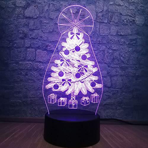 3D Kerstcadeau doos nacht licht Illusie Lamp 7 kleur veranderen, met afstandsbediening met USB-kabel, voor kinderen kerstversiering, verjaardagscadeau, slaaplamp