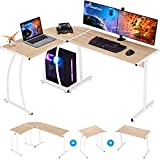 GreenForest L Shaped Gaming Computer Desk 58.1'', L-Shape Corner Gaming Table, Writing Studying PC Laptop Workstation 3-Piece for Home Office Bedroom, Oak
