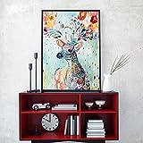 KWzEQ Pintura Decorativa nórdica Arte Mural sobre Lienzo Acuarela Abstracta Flor Ciervo Imagen Sala de Estar,Pintura sin Marco,60x75cm