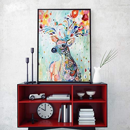 KWzEQ Nordische dekorative Malerei Wandkunst auf Leinwand abstrakte Aquarell Blume Hirsch Bild Wohnzimmer,Rahmenlose Malerei,75x93cm
