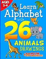 Alphabet workbook - Learn Alphabet with 26 Animals Drawings + 20 Spot the differences: Coloring book for kids | Aged 2-4 | Perfect gift for toodlers