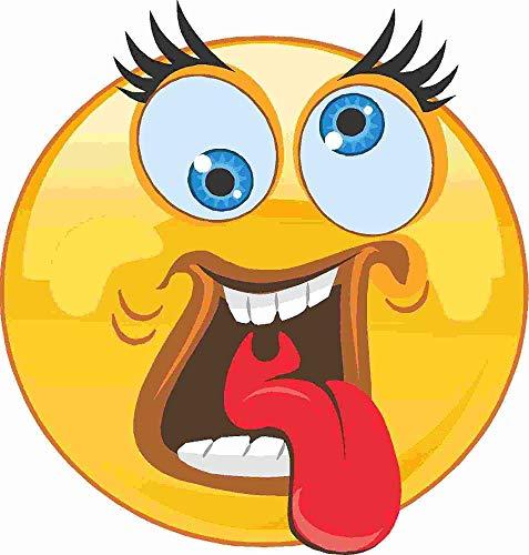 kleberio Aufkleber Emoji Smiley Zunge rausstrecken und verdrehte Augen Sticker Auto Motorrad Caravan wetterfest 10 x 10 cm