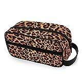 QMIN - Neceser portátil con estampado de leopardo y piel de leopardo, bolsa de viaje multifunción, bolsa de maquillaje, bolsa de almacenamiento para niños, niñas, mujeres, hombres