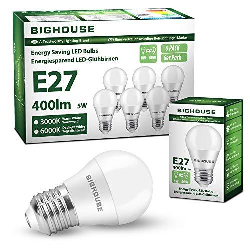 E27 LED Lampe, BIGHOUSE 5W LED Glühlampe Ersetzt 40W Glühbirne, 3000K Warmweiß 400 Lumen G45 LED Energiesparlampe, Tropfenform(6 Stück)