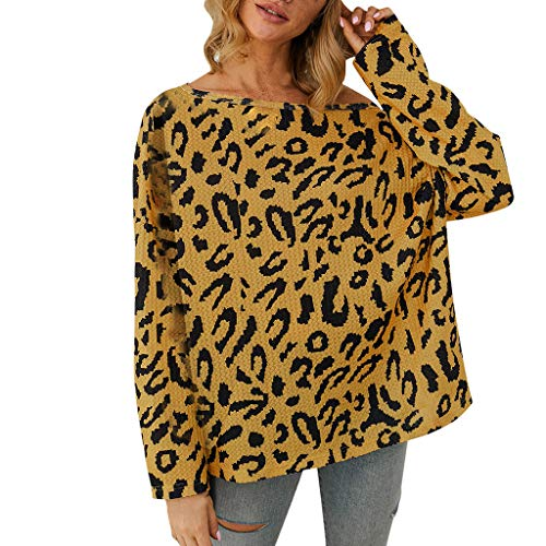 YAnGSale Top Women Shirts Novelty Camouflage Blouse Cold Shoulder Pullover Long Sleeve Tops Autumn Tunic Tee (Yellow, S)