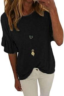 Keaac レディーススリムクルーネックフリル半袖TシャツプレーントップスTシャツ