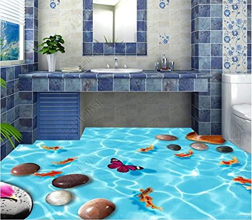 Azulejos de piso de baño Piso autoadhesivo3D Adoquín Patrón de agua Piso de pez Piso de ladrillo Pintura estéreo Wall-150 * 105Cm Wall Sticker Calcomanías Decoración de la habitación
