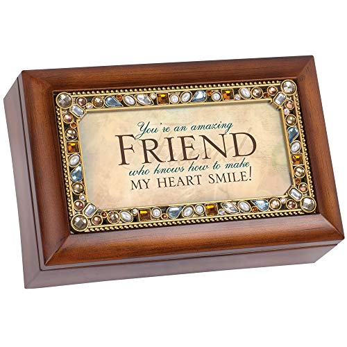 Cottage Garden Amazing Friend Woodgrain Jewelry Music Box Plays What Friends are for