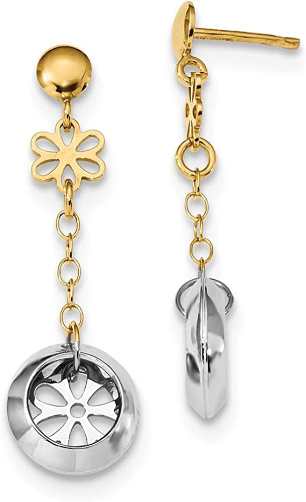 14k Two Tone Yellow Gold Round Flower Post Stud Drop Dangle Chandelier Earrings Gardening Fine Jewelry For Women Gifts For Her