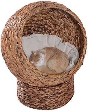 Pawhut Cama para Gatos Desmontable, Menos de 5kg, Diseño Moderno, Cojín Extraíble Suave y Cálido 42x33x52cm, Marrón y Beige