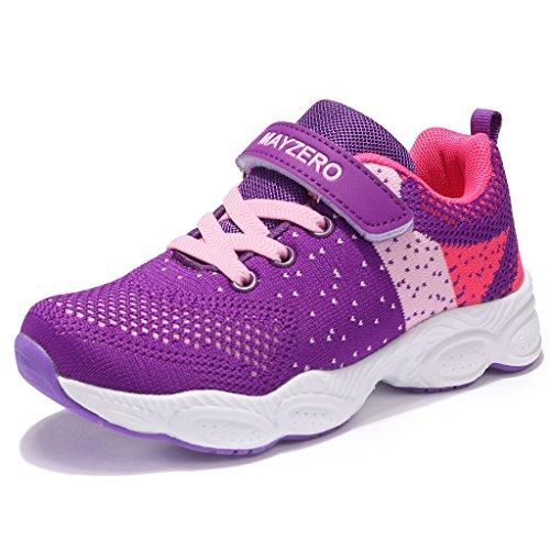 MAYZERO Unisex-Kinder Sneakers Laufen Schuhe Sportschuhe Sneakers Jungen M?dchen Low-Top Sneakers (27 EU, Lila#1)