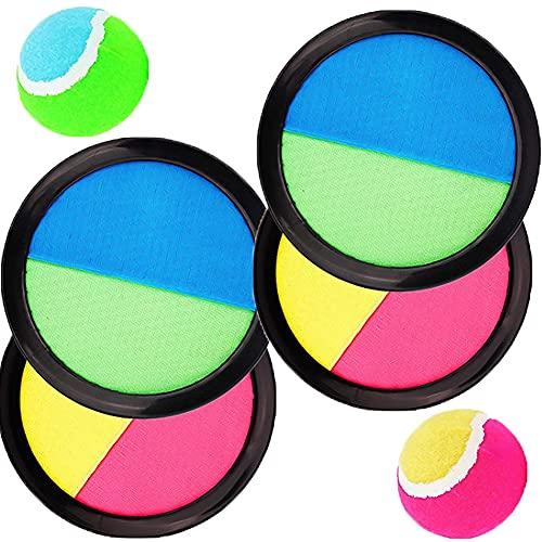 Juego de bola de velcro de 19 cm, juego de pelota de velcro, juego de pelota de pesca, juego de bola de velcro para niños y adultos, ideal para jugar al aire libre en el jardín